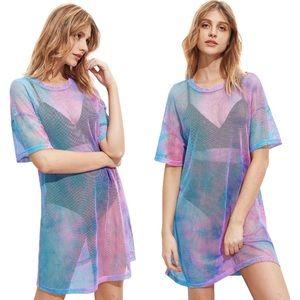 Pastel tie dye rainbow mesh T-shirt Dress coverup